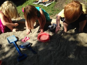 Preschoolers exploring the Sandbox.
