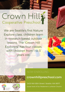 Crown Hill Preschool is now enrolling Pre-3s!