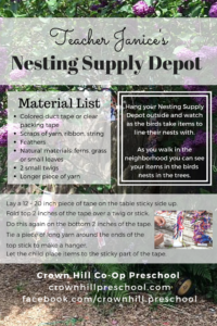 Teacher Janice's Nesting Supply Depot - Crown Hill Preschool